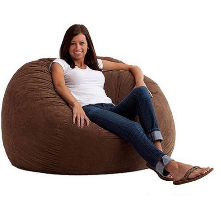 Large 4' Fuf Comfort Suede Bean Bag Chair, Filled with Super Soft and Long Lasting Durability Fuf Foam (Espresso)