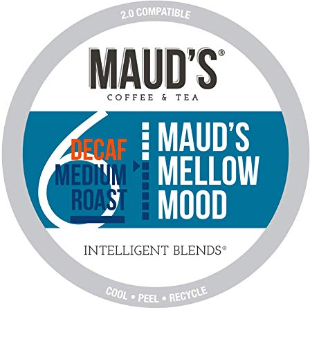 Maud's Decaf Medium Roast Coffee (Mellow Mood Decaf), 100ct. Recyclable Single Serve Coffee Pods - Richly satisfying arabica beans California Roasted, k-cup compatible including 2.0