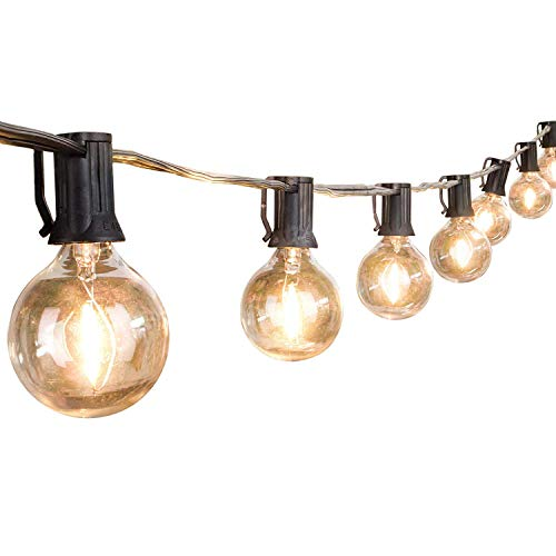 VU KEN G40 Globe String Lights with Clear Bulbs, UL Listed, Waterproof, for Backyard Patio Bistr ...