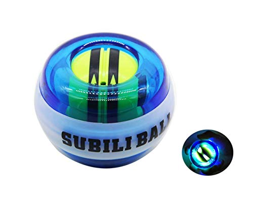 SUNSHINE EVERYDAY Auto-Start Wrist Trainer Ball Forearm Exerciser Powerball Wrist Strengthener Anxiety and Stress Relief Gyroscope Ball with LED Lights (Blue)