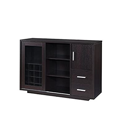 Bowery Hill Wine Rack Buffet in Cappuccino - Finish: Cappuccino Materials: Wood Veneers, Glass, Metal Contemporary style dining buffet cabinet - sideboards-buffets, kitchen-dining-room-furniture, kitchen-dining-room - 41NwaRlPR6L. SS400  -
