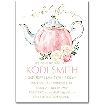 c6180374838 Set of 12 Personalized Bridal Shower Invitations and Envelopes with Watercolor  Tea Party Teapot and Flowers