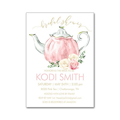 Set of 12 Personalized Bridal Shower Invitations and Envelopes with Watercolor Tea Party Teapot and Flowers in Pink and Gold NVB8020