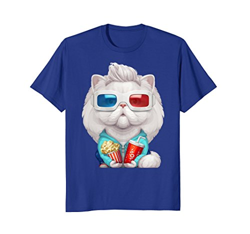 Mens White Persian Cat Wearing 3D Glasses T-Shirt Large Royal - Glasses Wearing 3d Glasses With