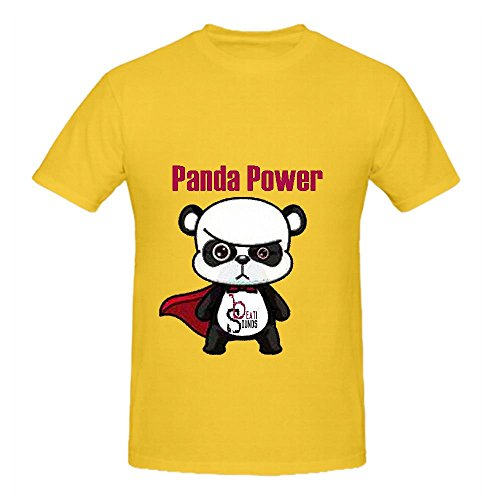 Panda Power - Single Beati Sounds Mens Crew Neck Shirt Music Yellow ()