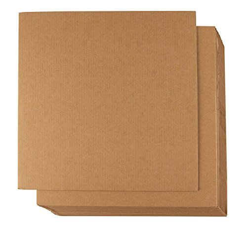 Corrugated Cardboard Sheets - 24-Pack Flat Cardboard Sheets, Cardboard Inserts for Packing, Mailing, Crafts - Kraft Brown, 12 x 12 ()