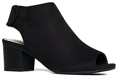 City Classified Women's Harlyn Cutout Peep Toe Stacked Chunky Heel Bootie Black Suede 7