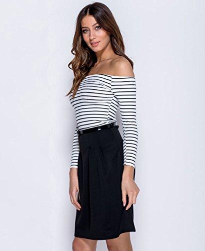 Damen Schulterfrei Bardot Weiß Schwarz -Streifen- Belted Skater -Kleid EU-Größe 36-42 Schwarz / weißer Streifen ROTiTfyB3y