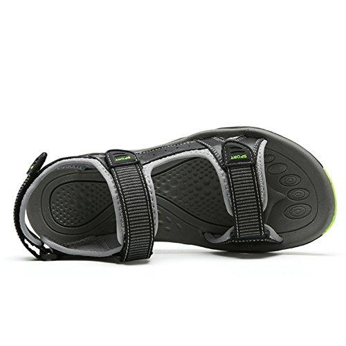 Sk Studio Män Sommar Atletisk Glid Sandaler Läder Fiskare Strand Skor Black & Ljusgrå