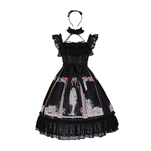 Yingluofu Lolita Gothic Classic Black Lolita Dress Cosplay Party Daily Office 「Narkissos」Custom Jumper Skirt for Women (L)