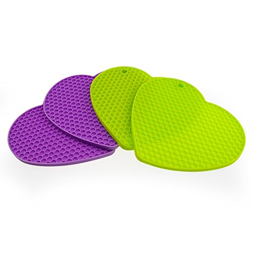 Heart Trivet - Mirenlife 4-pack Heart Shape Silicone Insulation Non Slip Pot Holders, Jar Opener,Spoon Rest,Trivets, Insulation Mats, Heat Resistant Coasters Cup Insulation Mat, Two Bright Colors (Purple and Green)