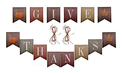 Shapenty Give Thanks Hanging Banner Paper Maple Leaves and Pumpkin Burlap Cardstocks for Thanksgiving Day, Halloween, Baby Shower, Home Office Outdoor Party Supply -