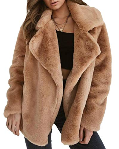 Fur Oversize Button Up Lapel Faux Long EKU Coat Women's Sleeve Pocket Brown Jacket AYnwqxvp