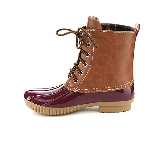 Duck Calf Tone Women's Lace Rain Dylan Combat Bordeaux Style Boots Two Up Axny pv8WqR