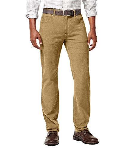 - Tommy Hilfiger Mens Straight-Fit Graham Casual Corduroy Pants Brown 38x34