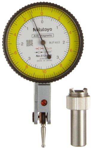 Mitutoyo 513 409 Dial Test Indicator Basic Set Horizontal Type 8mm Stem Dia Yellow Dial 0 10 0 0 38 0 Reading