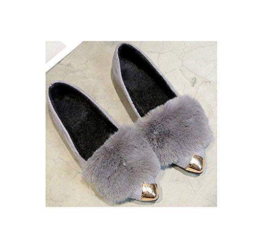 Señoras de las mujeres de invierno cálido confort de piel felpa zapatillas antideslizantes sandalias de interior al aire libre zapatos de boca baja Gray