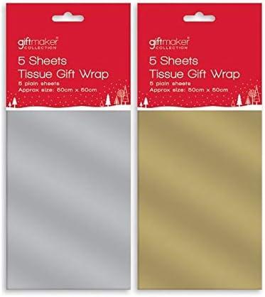 Silbern The Home Fusion Company 5 Bl/ätter Metallisch Seidenpapier Geschenkverpackung Weihnachten Geburtstag Gold Silber 50cm X 50cm