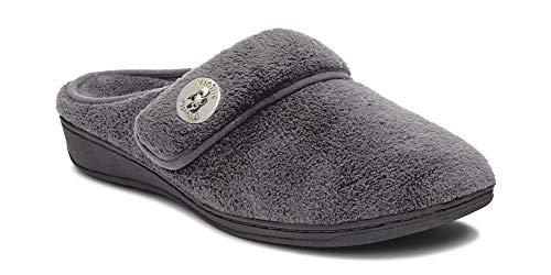 Vionic Women's Indulge Sadie Mule Slipper - Ladies Slipper Concealed Orthotic Support Grey 5 M US