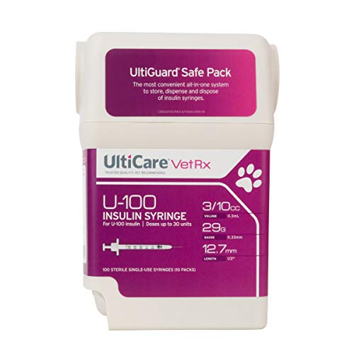 UltiCare VetRx U-100 UltiGuard Safe Pack Pet Insulin Syringes 3/10cc, 29G x 1/2