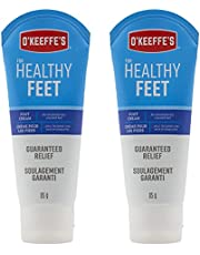 O'Keeffe's Healthy Feet Foot Cream, Healing Moisturizer, Relieves and Repairs Extremely Dry Cracked Feet, Instantly Boosts Moisture Levels, Two 3oz/85g Tubes, (Pack of 2) 108485 White