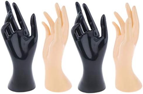 joyMerit 4個 マネキン手 ハンドトルソー ジュエリーディスプレイ リング ウォッチ ブレスレット 展示スタンド 黒 肌