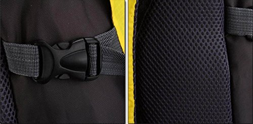 LQABW Bolsa De Viaje De Montañismo Ocio De Los Hombres Al Aire Libre Con La Cintura Hebilla De Gran Manera De La Capacidad Mochila Impermeable,Blue Yellow