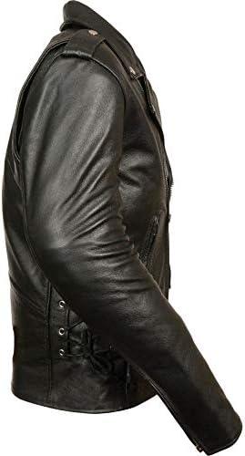 UZ Global Leather Mens Classic Side Lace Police Style Motorcycle Jacket Genuine Leather Jacket