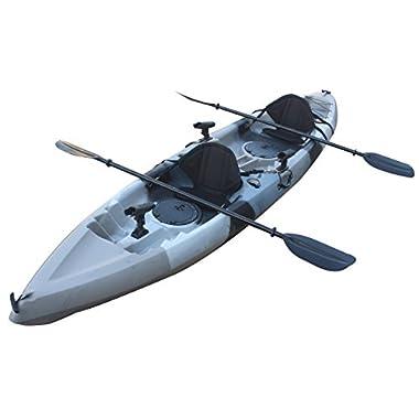 Useful UH-TK181 12.5 Feet Sit On Top Tandem Fishing Kayak Paddles and Seats, Grey