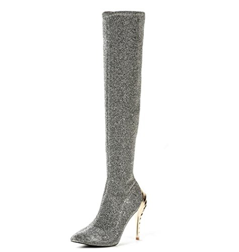 NVXIE Women's Over Knee Thigh Boots Elasticity Sequins Shaped High Heel Winter Waterproof Silver Large Size GRAY-EUR39UK665 C99tm6