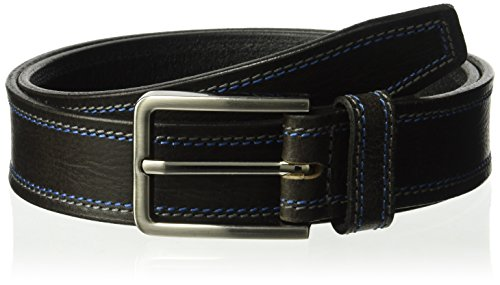 Van Heusen Men's Stitched Cut Edge Belt, Black, (Black Leather Edge Stitched Belt)