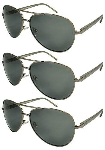 Edge I-Wear 3 Pack Metal Aviators Sunglasses Spring Hinges Polarized Lens Aluminum Temple - Temple Metal Spring Hinge