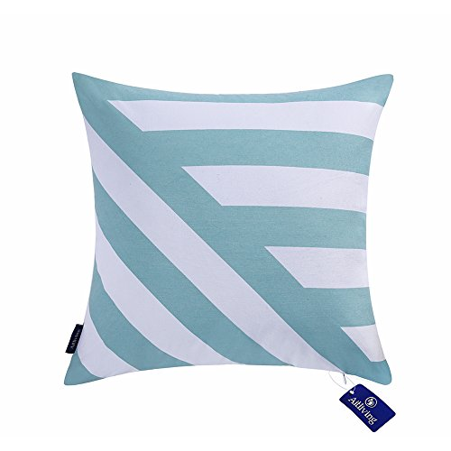 - Aitliving Throw Pillow Covers Chevron Stripes 18x18 inches Cotton Canvas Decorative Pillow Cover Sky Blue Zig zag Striped Handmade Cotton Print Bold Twisted Stripes 1 PC 45.5X45.5cm Light Blue