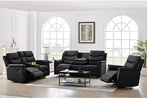 BELUPAID PU Living Room Furniture Sets, 3 Pieces Recliner Sofa Set Leather Lounge Chair Loveseat Reclining Couch with Cup Holders, Manual Zero Gravity PU Recliner Sofa for Home Office(3+2+1 Seater)
