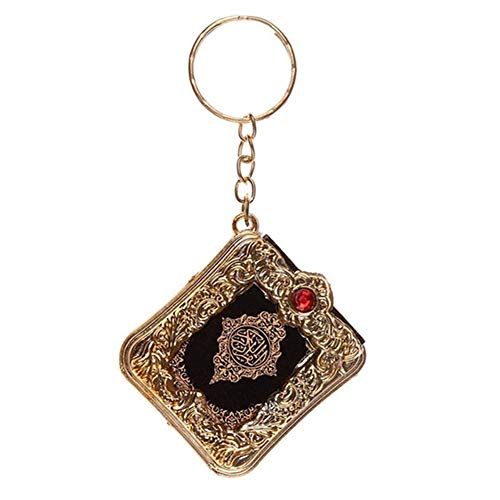 wsloftyGYd Vintage Mini Ark Quran Book Koran Pendant Muslim Keychain Bag Purse Car Decor Golden
