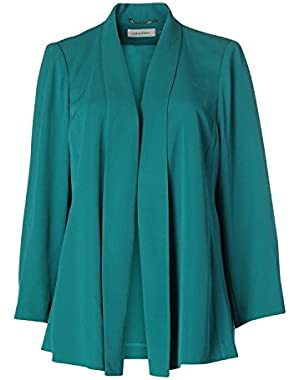 Calvin Klein Womens Long Sleeves Solid Open-Front Blazer Blue PXL