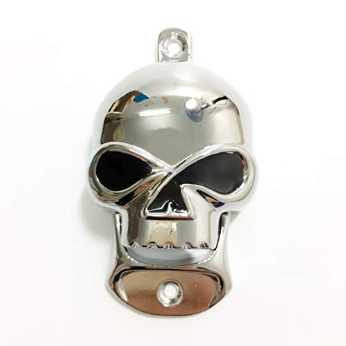 MYTANG Metal Chrome Skull Wall Mounted Bottle Beer Opener Gift
