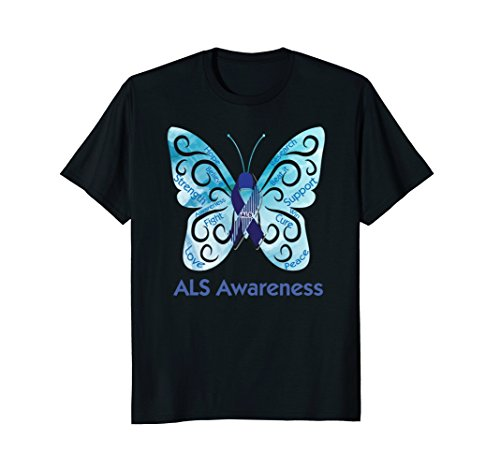 T-shirts Als Cure (ALS awareness t-shirt butterfly blue dabbing ribbon May 2018)