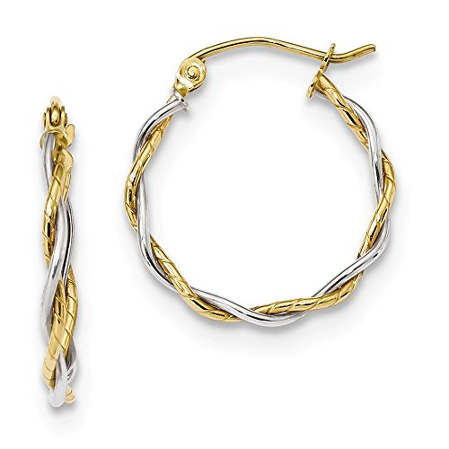 (10k Two Tone Yellow Gold 1.8mm Twisted Hoop Earrings Ear Hoops Set Fine Jewelry Gifts For Women For Her)