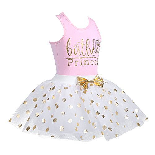 CHICTRY Toddler Little Girls Fancy Sequin Polka Dots Birthday Outfit Racer-Back Shirt with Mesh Tutu Skirt Set Pink 3-4 by CHICTRY (Image #2)