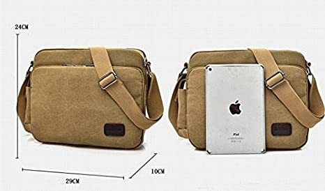 0d1399bcbaba Amazon.com  Urmiss Classic Multifunctional Versatile Mens Womens Canvas  Messenger Bag Handbag Crossbody Shoulder Bag Leisure Bag Travel Purse   Sports   ...