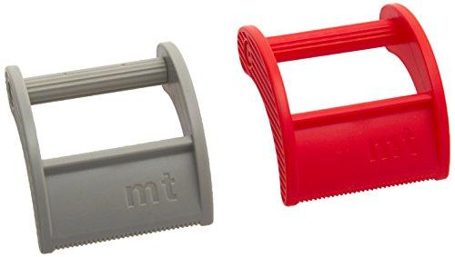 MT Washi Tape MTTC0017 Dispensador para Cinta Adhesiva Japonés, Cortadores de 20-25mm, 2 Piezas Rojo/Gris