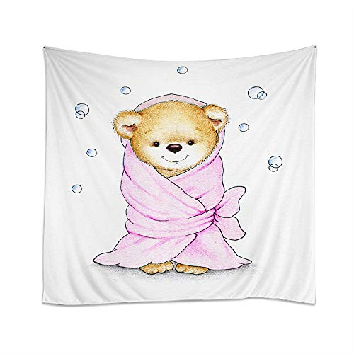 Teddy Bear Hanging - Moslion Bear Tapestry Cartoon Teddy Bear Wrapped in Pink Blanket Cute Love for Kid Wall Hanging Tapestries One Side Decorative Home Art Polyester for Living Room 60x51 Inch
