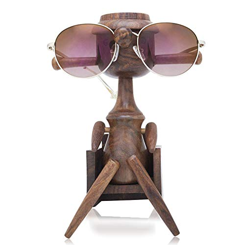 Fun Birthday Gift Ideas Handcrafted Rosewood Reading Glasses Stand Spectacle Stand or Eye Glass Holder Wooden Tabeltop Display Stand 7.5 Inches Anniversary Housewarming Gifts For Men Women Him Her