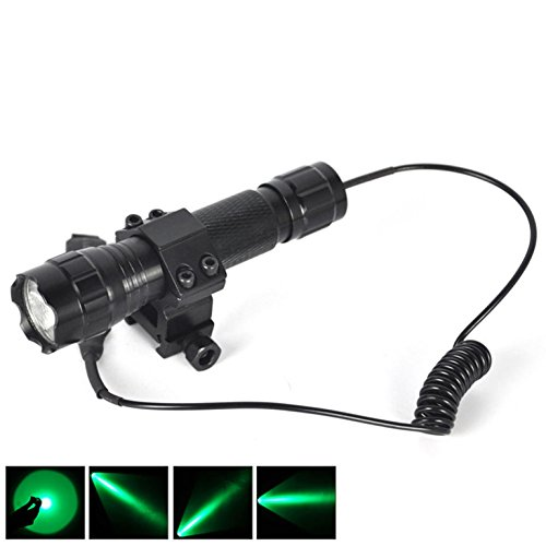 Pistol Handle Chef Set (1 Set (1-Pcs) Majestic Fashionable 600LM Green LEDs Flashlight Tactical Lamp Rifle Gun Rail Coated Glass Lens Hunting Light SWAT Torch Colors Black with Mount and Remote Switch)