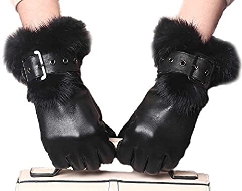YISEVEN Women's Rabbit Fur Lined Touchscreen Leather Gloves with Fur Cuff, Lambskin and work for cell phone, iPad, and more - Fur Leather Gloves