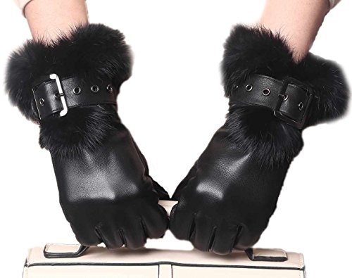YISEVEN Women's Rabbit Fur Lined Touchscreen Leather Gloves with Fur Cuff, Lambskin and work for cell phone, iPad, and more 7.5