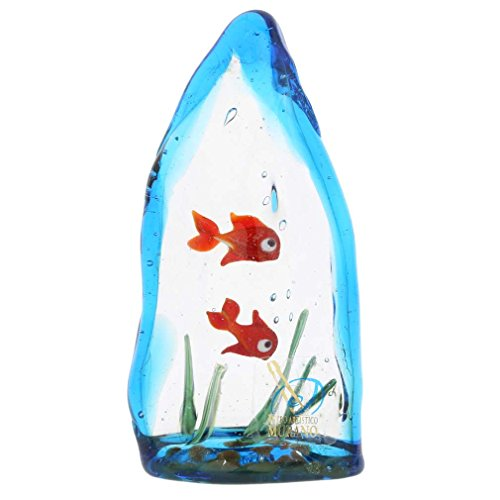 - GlassOfVenice Murano Glass Aquarium with Two Tropical Fish - 4 inches