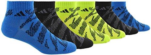 adidas Youth Kids-Boys/Girls Tiger Style Quarter Sock (6-Pair), Shock Blue/Black Black/Onix Semi - Solar Slime/Black, Medium, (Shoe Size 13C-4Y)