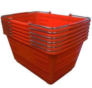 Shopping Basket (Set of 6) Durable Red Plastic with Metal Handles by Only Garment Racks (Image #1)